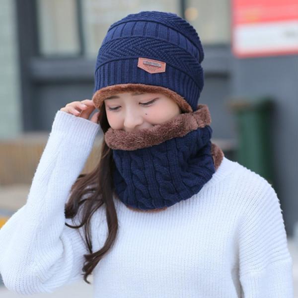 ネックウォーマー ニット帽  2点セット メンズ レディース 帽子 冬 裏起毛 男女兼用 ニット帽子 ニットキャップ 送料無料|barsado2|15