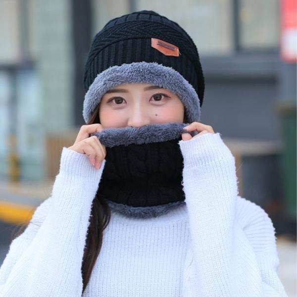 ネックウォーマー ニット帽  2点セット メンズ レディース 帽子 冬 裏起毛 男女兼用 ニット帽子 ニットキャップ 送料無料|barsado2|04