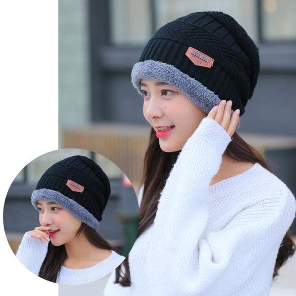 ネックウォーマー ニット帽  2点セット メンズ レディース 帽子 冬 裏起毛 男女兼用 ニット帽子 ニットキャップ 送料無料|barsado2|05