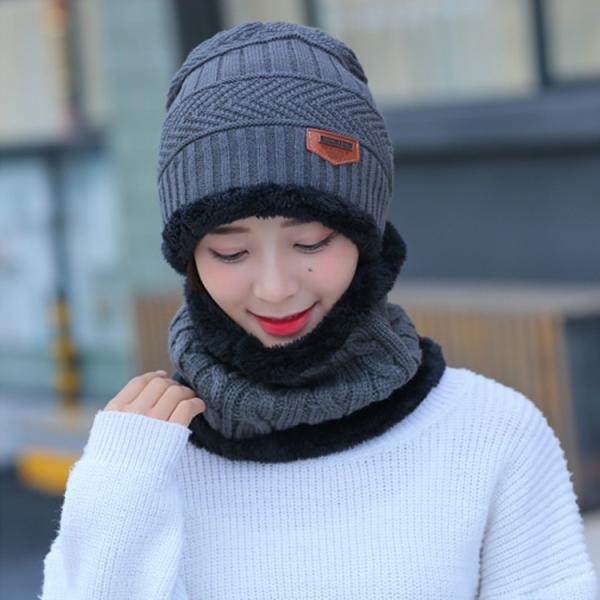 ネックウォーマー ニット帽  2点セット メンズ レディース 帽子 冬 裏起毛 男女兼用 ニット帽子 ニットキャップ 送料無料|barsado2|09