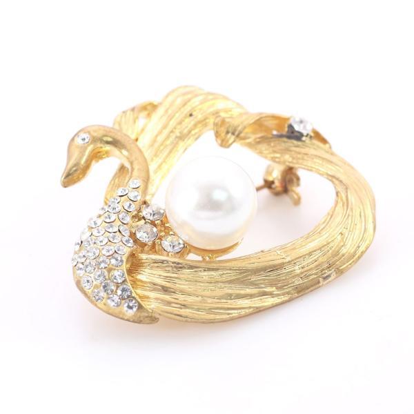 ゴールド ブローチ 白鳥 パール レディース アクセサリー ピンブローチ 女性 アニマル 鳥 記念日 お祝い 誕生日 プレゼント ギフト 金色