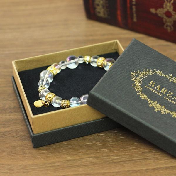 パワーストーン ブレスレット アクセサリー オーロラ クリスタル 上品 可愛い 女性 レディース デイリー 自分買い 誕生日 プレゼント 金色 虹色 華奢ギフト