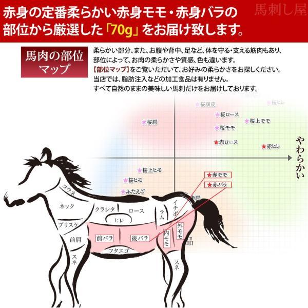 馬刺し 馬肉 熊本 厳選赤身B 柔らかい部位 70g|basashi|03