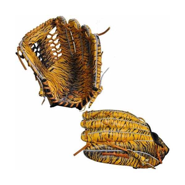 あすつく 限定 タマザワ×BM オリジナル 軟式 外野手用 グラブ 右投用 トラ柄 グラブ袋付き baseman 02