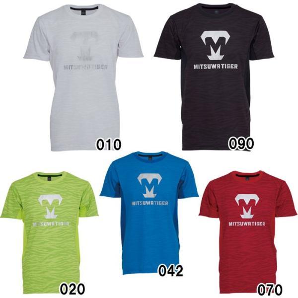 あすつく 美津和タイガー 野球 ドライTシャツ 半袖 タイガープリント 丸首 吸汗 速乾 新ロゴ KSREYS-002 mit18ss wear|baseman