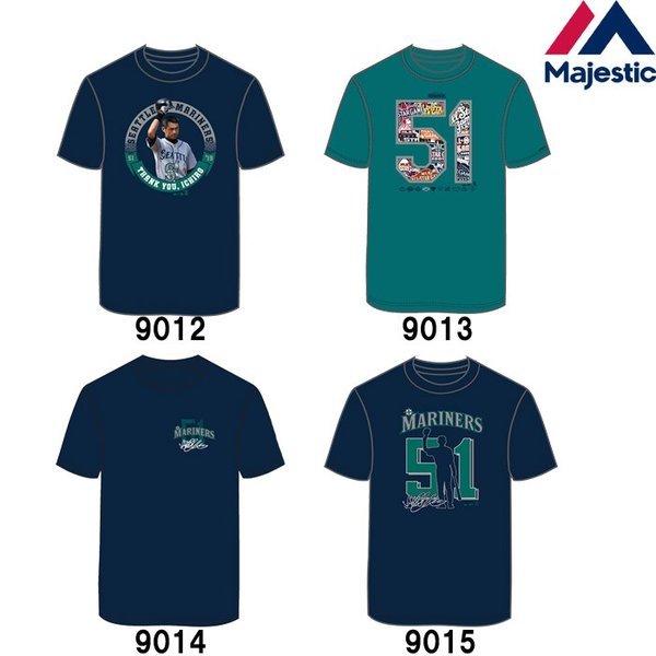 あすつく マジェスティック イチロー引退記念 Tシャツ マリナーズ 51 綿100% SEA MLB MM01-SM-901 maj19ss baseman