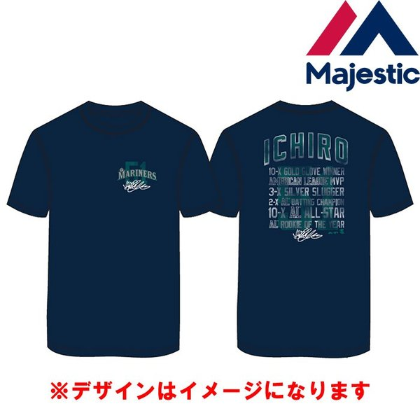 あすつく マジェスティック イチロー引退記念 Tシャツ マリナーズ 51 綿100% SEA MLB MM01-SM-901 maj19ss baseman 04
