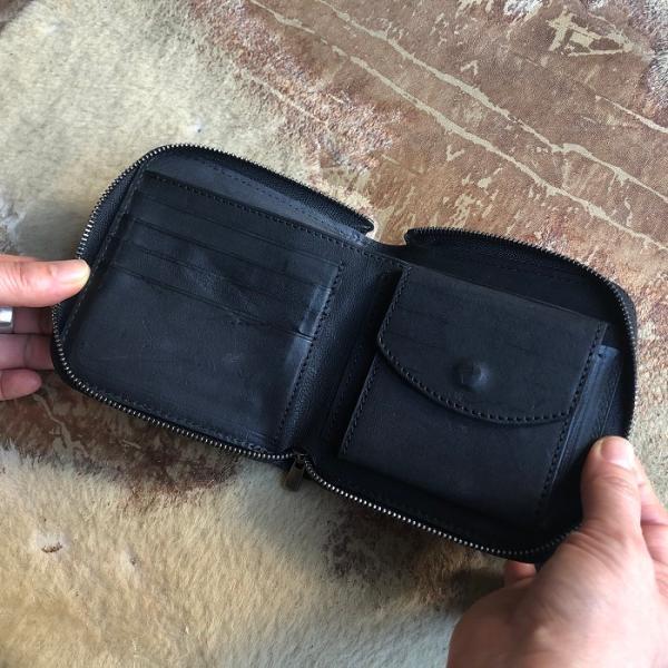 イタリア グイディ(GUIDI)社製フィオーレカーフのラウンドファスナーレザー二つ折り財布/ウォレット|bashamichi-imai|06