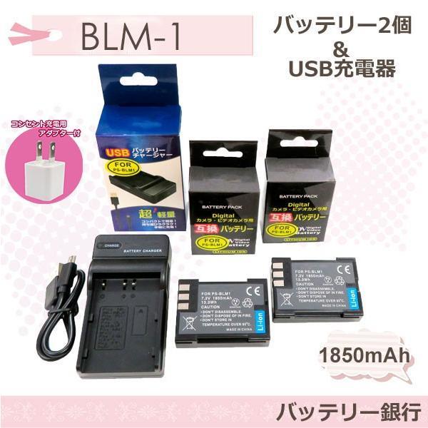 ★コンセント充電可能★OLYMPUSオリンパス BLM-1 互換バッテリー2個と互換USB充電器の3点セットE-1 E-3 E-5 E-30 E-300 E-330 E-500 BLM-5/PS-BLM1 (a1)