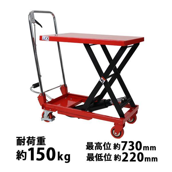 油圧式昇降台車 リフトカート テーブルカート ハンドリフター 赤 折りたたみ 耐荷重約150kg キャスター付き ノーパンクタイヤ liftdaishasy15r