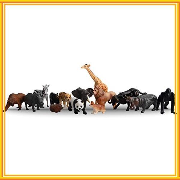 TOYMANY14PCS野生動物フィギュアセットリアルな動物模型動物園主題ABSプラスチック製子供おもちゃ知
