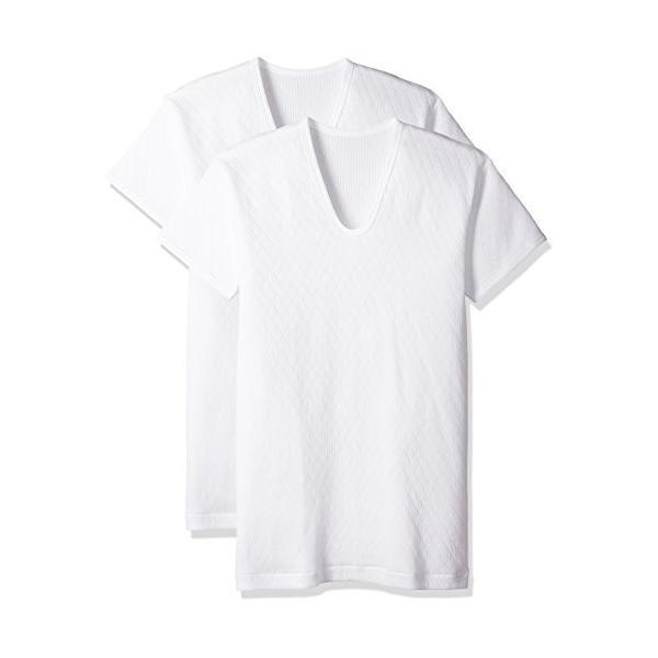 [グンゼ] インナーシャツ 快適キルト遠赤加工 ダイヤ柄 肌面:綿100% 半袖U首 2枚組 RP63162 メンズ