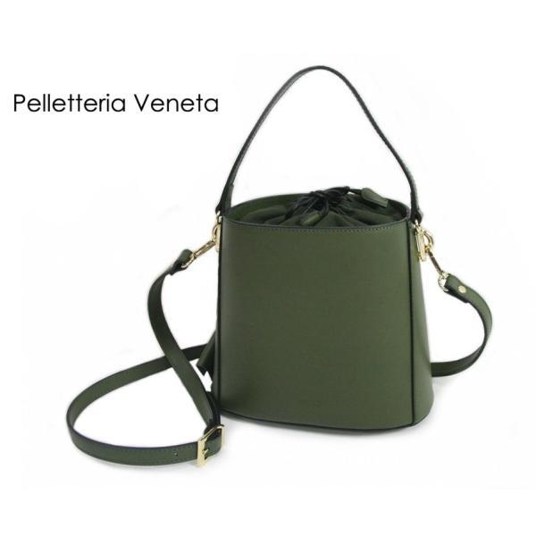 ペレッテリア ベネタ Pelletteria Veneta  イタリア 本革 レザー 2WAY バケツバッグ ショルダー ハンドバッグ グリーン LEATHER BAG R0074 カジュアル