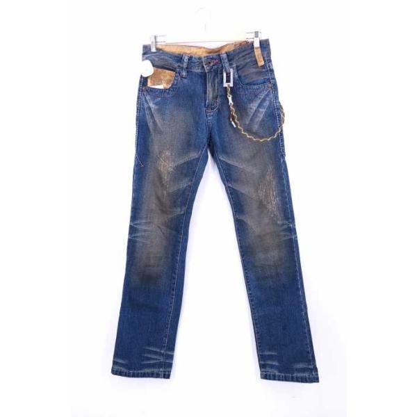 メンズジーンズ、デニム  TOUGH Jeansmith サイズ28inch エイジング&ダメージ加工 ウォ 中古 ブランド古着バズストア 200210