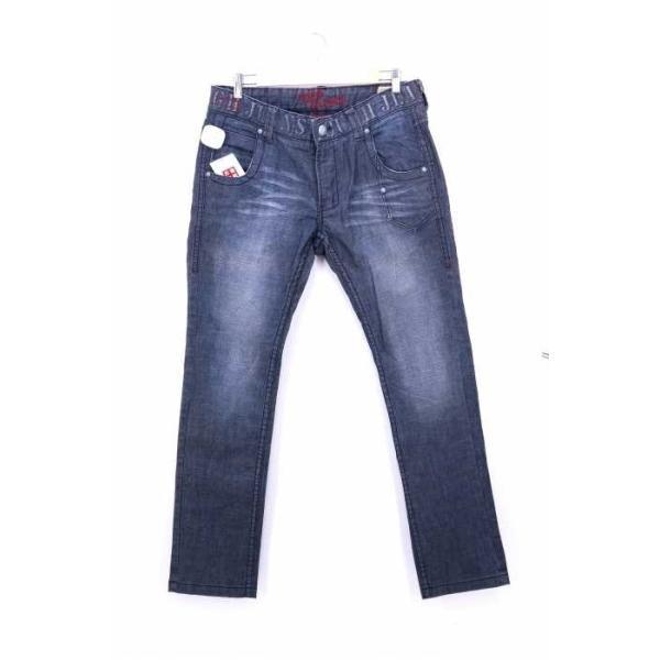 TOUGH Jeansmith デニムパンツ メンズ サイズ34inch USED加工 エンボスロゴプリン中古 ブランド古着バズストア 191108