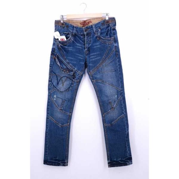 メンズジーンズ、デニム  TOUGH Jeansmith サイズ32inch USED加工 ペイントロゴプリ 中古 ブランド古着バズストア 200210