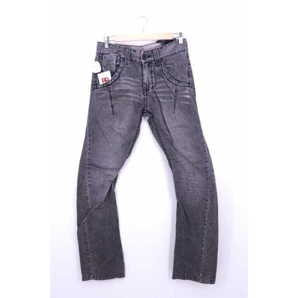 TOUGH Jeansmith デニムパンツ メンズ サイズ30 エイジング&ダメージ加工 スウェードパッ中古 ブランド古着バズストア 191108