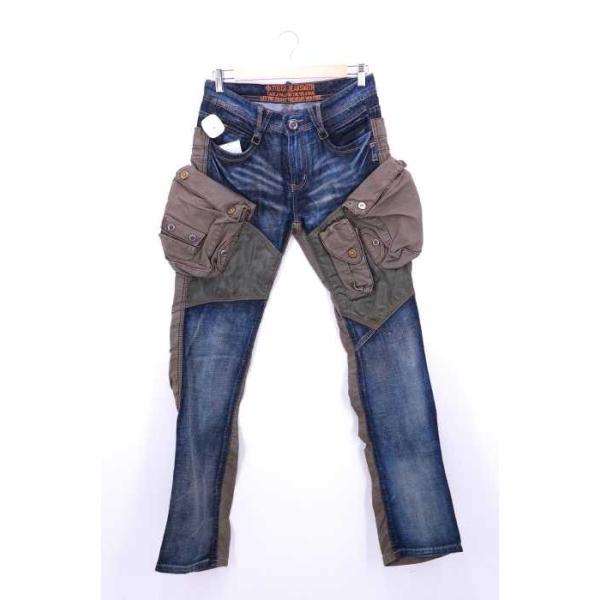TOUGH Jeansmith デニムパンツ メンズ サイズ30inch USED加工 デニムドッキングデ中古 ブランド古着バズストア 191105