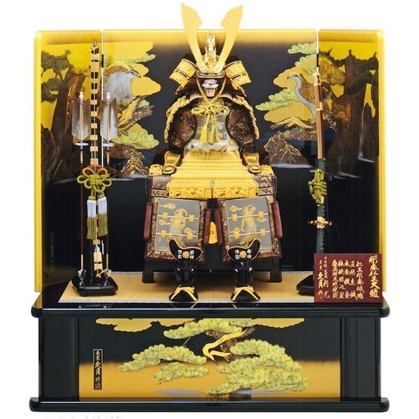五月人形 久月 平飾り 仁王大鎧飾り 正絹緋縅 12号 利光監製  29367|bb-yamadaya|02