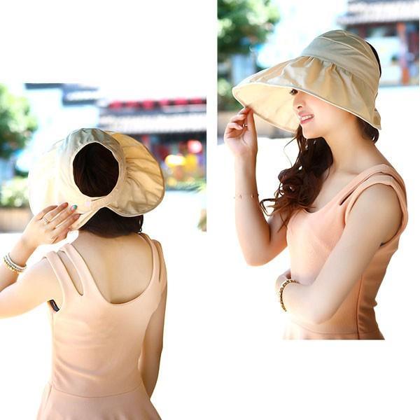 つば広 レディースハット サンバイザー 折りたたみ 帽子 S M キッズハット UVハット UVカット 紫外線カット 日よけ帽子 婦人帽 子ども帽子 SUNVISOR HAT 5503 bbdirect 09