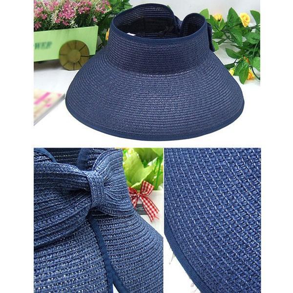 麦わら サンバイザー 帽子 ストローハット リボン付き レディースハット キッズハット 折りたたみ つば広 紫外線防止 UVカット 子供用 春 夏 SUNVISOR 6620|bbdirect|05
