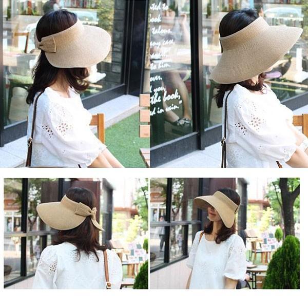 麦わら サンバイザー 帽子 ストローハット リボン付き レディースハット キッズハット 折りたたみ つば広 紫外線防止 UVカット 子供用 春 夏 SUNVISOR 6620|bbdirect|09