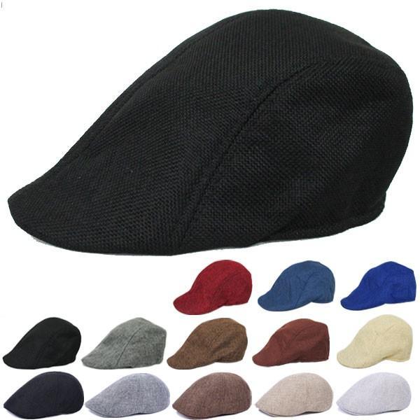 亜麻風ハンチングキャスケット帽子無地キャップメッシュサマーキャップキャスケット帽麦わら帽子メンズレディース春夏HUNTINGCA