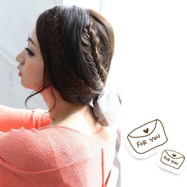 三つ編み エクステ フィッシュボーン 編み込みヘア ウィッグ エクステンション 前髪 ワンタッチ つけ毛 つけ毛 ウイッグ 耐熱 ポイントウィッグ WIG EXT 016|bbdirect|05