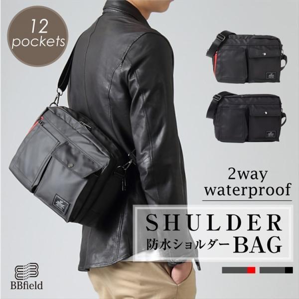 ショルダーバッグメンズ軽量防水12ポケット通勤通学コンパクトユニセックス鞄かばんカバンブラックグレー撥水防水母の日