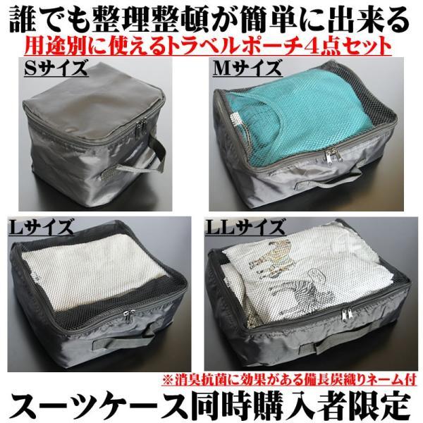 アレンジケース4点セット スーツケース内を簡単整理整頓 消臭、抗菌に効果がある備長炭織りネーム付き 同時購入者限定|bbmonsters