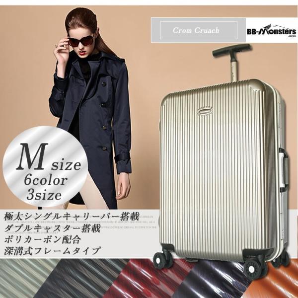スーツケース 中型 ハードケース キャリーバッグ 軽量 アルミフレーム Mサイズ bbmonsters