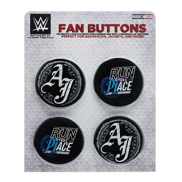 WWE AJ Styles(AJスタイルズ) Run The Place ビッグサイズ缶バッジ4個セット|bdrop