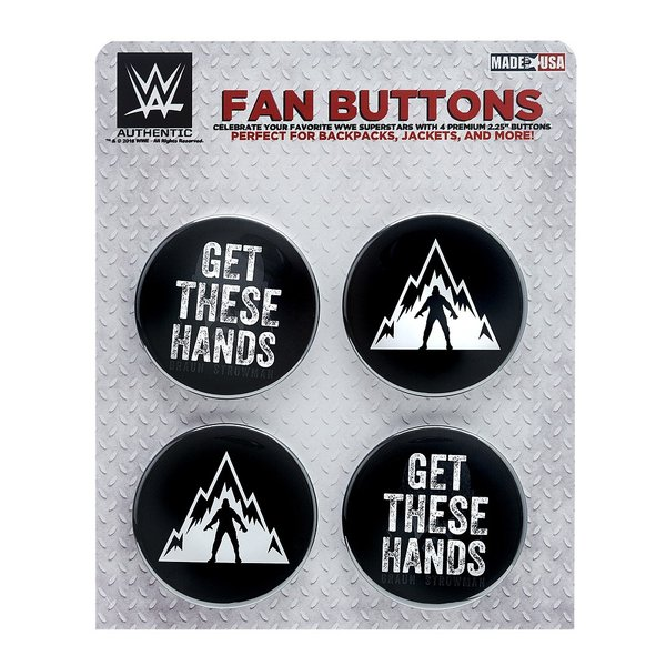 WWE Braun Strowman(ブラウン・ストローマン) Get These Hands ビッグサイズ缶バッジ4個セット|bdrop