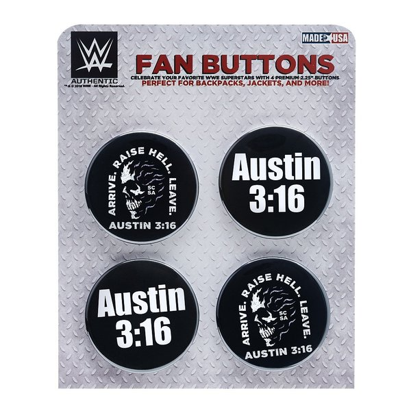 WWE Steve Austin(スティーブ・オースチン) Arrive Raise Hell Leave ビッグサイズ缶バッジ4個セット|bdrop
