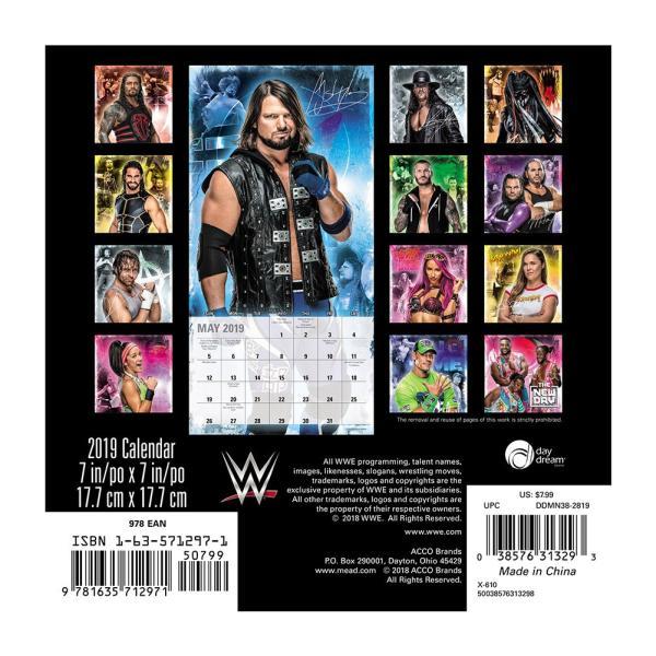 WWE Superstars 2019年ミニカレンダー|bdrop|02