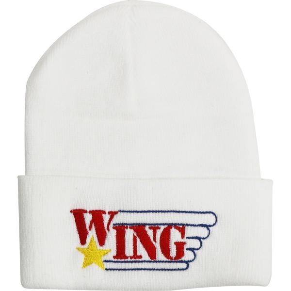 W☆ing Logo ホワイトニット帽|bdrop