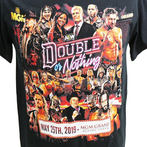 Tシャツ AEW Double or Nothing Full Talent ブラック|bdrop|02