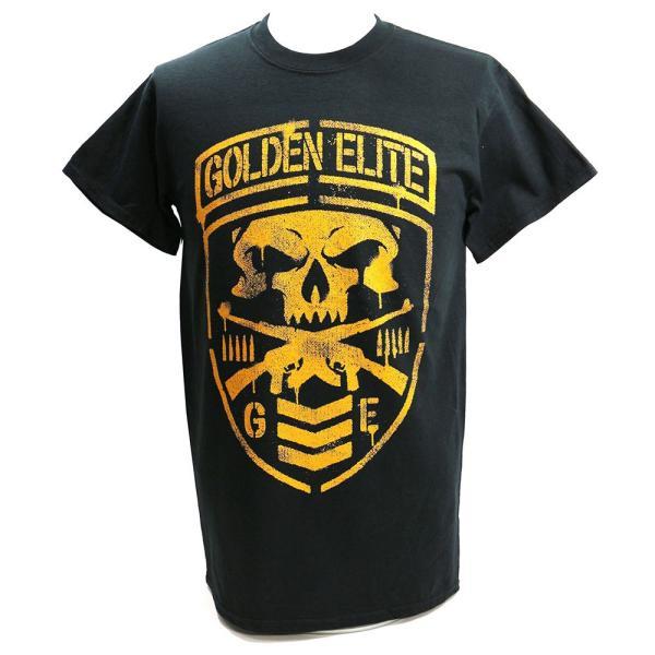 新日本プロレス NJPW Golden Elite(ゴールデンエリート) Shield ブラックTシャツ|bdrop