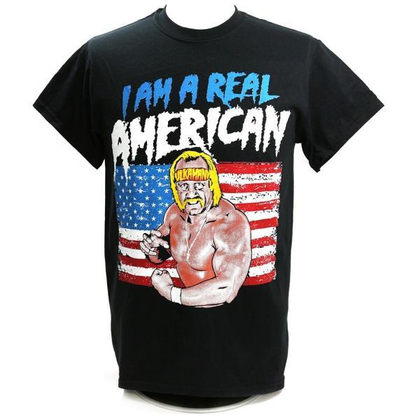 WWE Hulk Hogan(ハルク・ホーガン) Real American ブラックTシャツ|bdrop