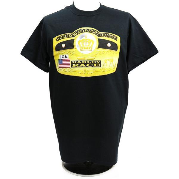 Tシャツ WWE Harley Race(ハーリー・レイス) Worlds Heavyweight Champion ブラック|bdrop