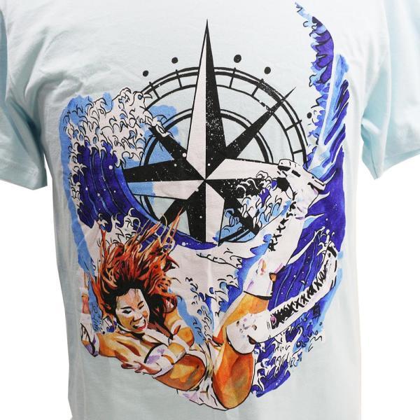 Tシャツ WWE Kairi Sane(カイリ・セイン) Rob Schamberger Art Print スカイブルー bdrop 02