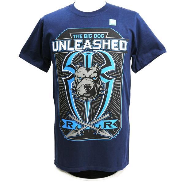 Tシャツ WWE Roman Reigns (ローマン・レインズ) Big Dog Unleashed ネイビー bdrop