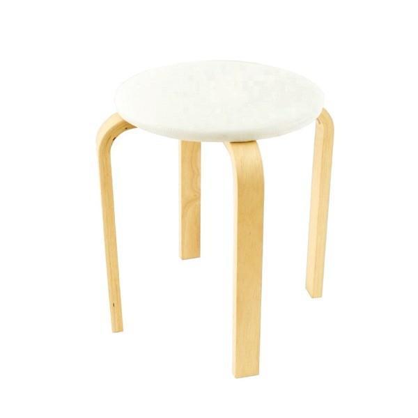 <title>スタッキングスツール 丸椅子 〔同色5脚セット〕 人気 おすすめ 座面:合成皮革 合皮 木製脚 アイボリー 〔完成品〕</title>