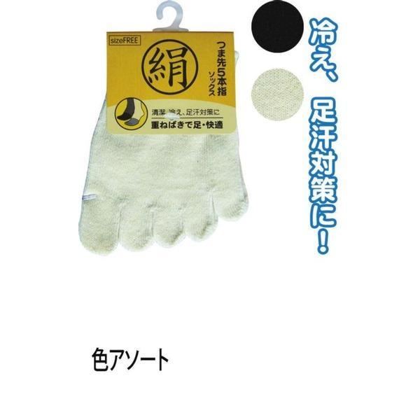 綿シルク混重ね履き5本指ソックス色アソート6131-1 47-325 〔10個セット〕