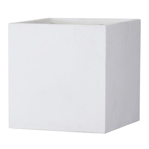 ファイバークレイ製 軽量 大型植木鉢 バスク キューブ 40cm ホワイト be-in-fashion