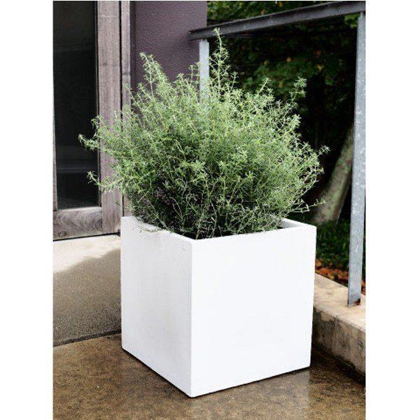 ファイバークレイ製 軽量 大型植木鉢 バスク キューブ 40cm ホワイト be-in-fashion 02
