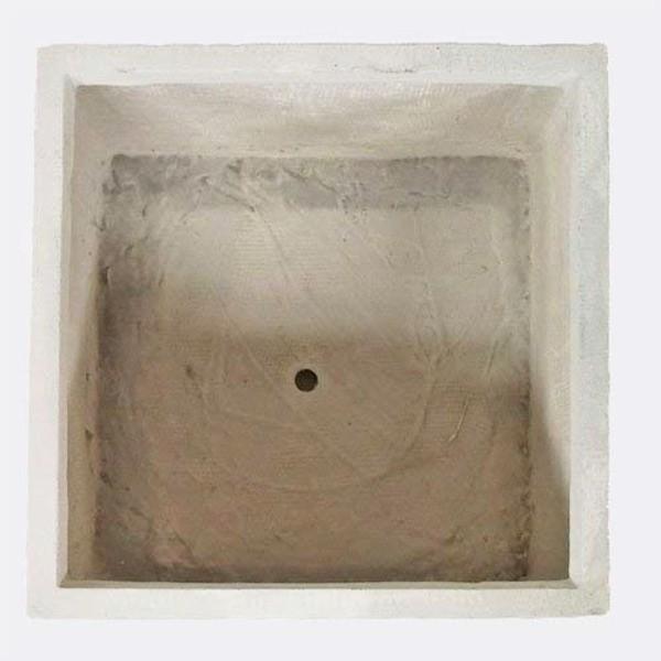 ファイバークレイ製 軽量 大型植木鉢 バスク キューブ 40cm ホワイト be-in-fashion 04