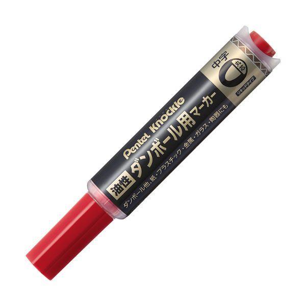 (まとめ) ぺんてる 油性ダンボール用マーカー 中字赤 ND150M-B 1本 〔×50セット〕