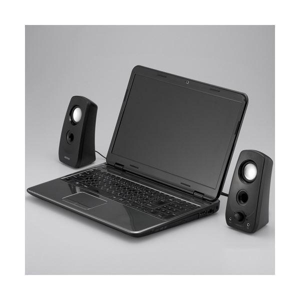 (まとめ)バッファロー 2.0chマルチメディアスピーカー USB電源/ステレオミニプラグ ブラック BSSP28UBK 1台〔×2セット〕
