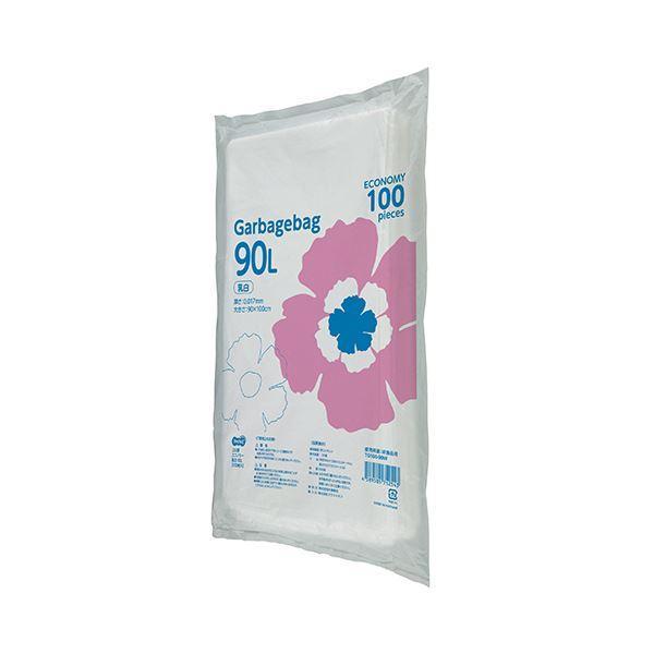 TANOSEE ゴミ袋エコノミー乳白半透明 90L 1セット(500枚:100枚×5パック)